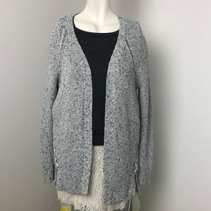 AEO • Gray Speckled Knit Open Front Cardigan Sz S